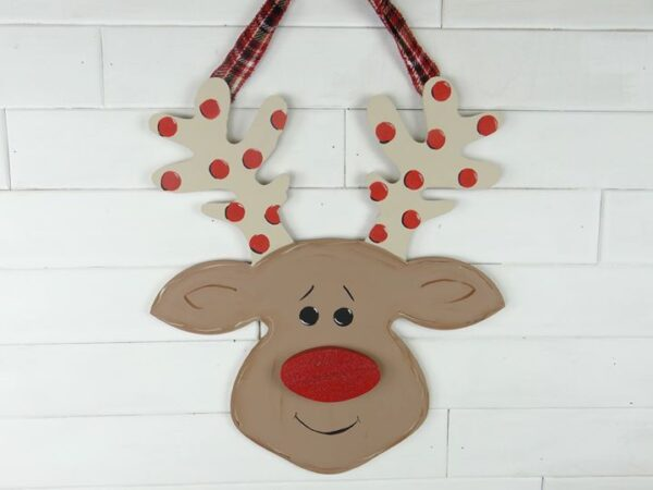 Wooden Rudolph Door Hanger