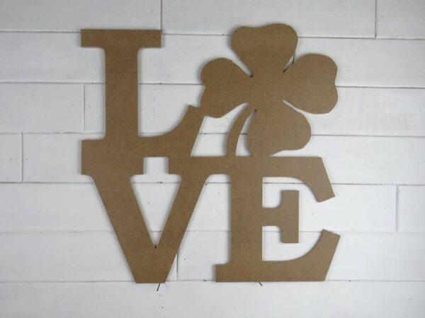 Wooden Stacked Love w 4 Leaf Clover